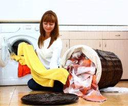 caregiver washing clothes